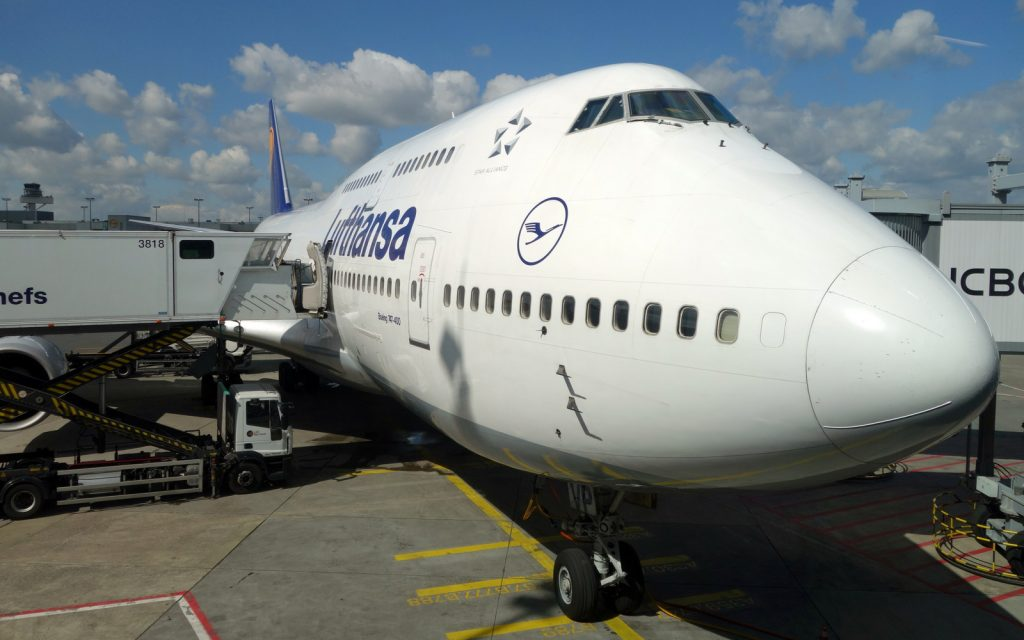 Catering truck up on a Lufthansa 747-400 at FRA