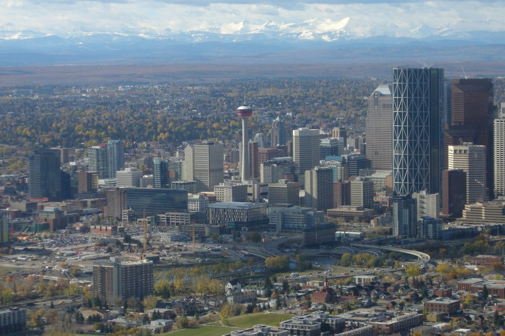 Downtown Calgary with the Rocky Mountains in the distance, on a bumpy final approach to YYC