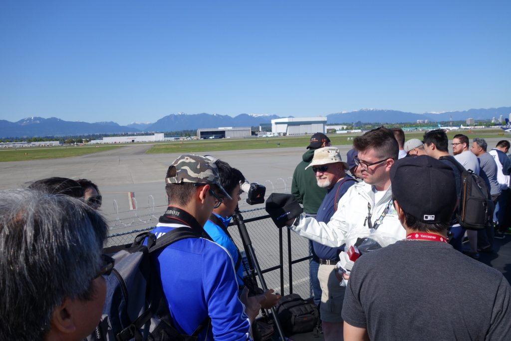 AvGeeks and Plane Spotters wait for the British Airways A380 inaugural at YVR.