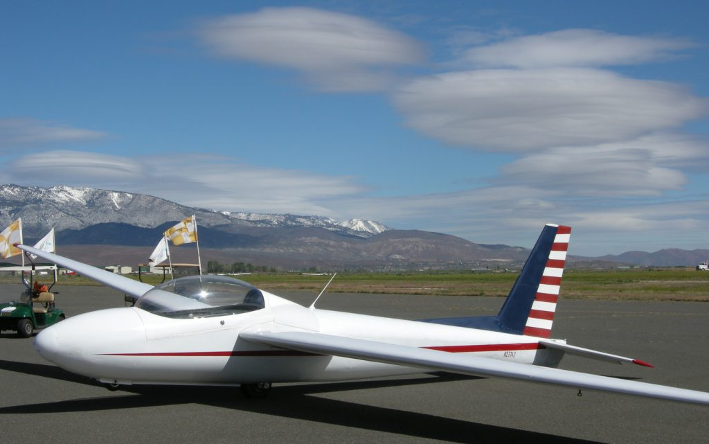 """Soaring NV uses this Schweizer 2-32 for sightseeing flights over Lake Tahoe. It was a gorgeous """"wave"""" day when I took this photo, with lennies everywhere!"""