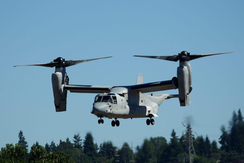 US Marine MV-22 Osprey landing at Boeing Field, Seattle. Photo: Mal Muir